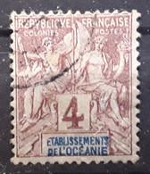 OCEANIE 1892, Type Groupe Yvert No 3, 4 C Lilas Brun Obl TB - Usados