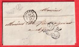 CAD TYPE 15 LODEVE HERAULT BOITE RURALE E ST PRIVAT AGDE 1851 - 1801-1848: Vorläufer XIX