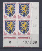 BLASON NEVERS N° 1354 - Bloc De 4 COIN DATE - NEUF SANS CHARNIERE - 10/12/69  1 Point - 1960-1969