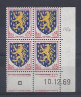 BLASON NEVERS N° 1354 - Bloc De 4 COIN DATE - NEUF SANS CHARNIERE - 10/12/69  3 Points - 1960-1969