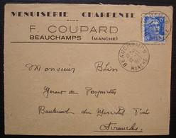 Beauchamps (Manche) 1953 F. Coupard Menuiserie Charpente, Lettre Pour Avranches - 1921-1960: Periodo Moderno
