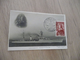 Sur CPA Croiseur Touville TP Tourville 1944 + Cachet Salon De La Marine - Bolli Commemorativi