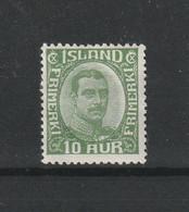 1920 CHRISTIAN X 10 AUR GREEN MH* - Ongebruikt
