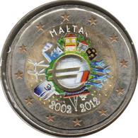 MA20012.4 - MALTE - 2 Euros Commémo. Colorisée 10 Ans De L'euro - 2012 - Malta