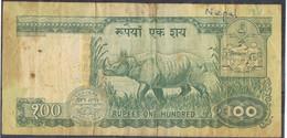 Billete 100 Rupias NEPAL 1981. Rinoceronte. RHINO - Nepal