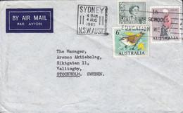 Australia FEDERAL MATCH Co. Slogan 'Education Week' SYDNEY NSW 1965 Cover Brief VÄLLINGBY Sweden Bird Vogel Oiseau - Covers & Documents