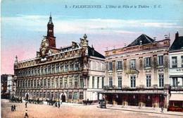 CPA Valenciennes L'Hôtel De Ville Et Le Théâtre Animation (place D'armes) (non Circulée) - Valenciennes
