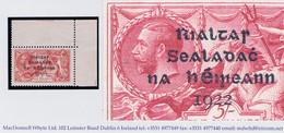 "Ireland 1922 Dollard Rialtas 4-line 5s Var ""Short Third Line"" Row 1/4 Corner Marginal Mint Unmounted - Unused Stamps"