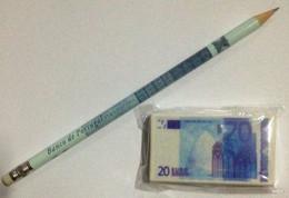Banco De Portugal , 2002 , Advertising Set Of Pencil And Eraser About EURO , Unused , Lápis E Borracha - 20 Euro