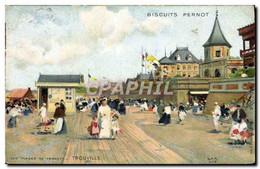 CPA Fantaisie Illustrateur Les Plages De France Trouville Publicite Biscuits Pernot - Other Illustrators