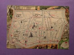 75   CPSM  PARIS  Plan Illustré Du XVIII Arrondissement     Bon état - Arrondissement: 18