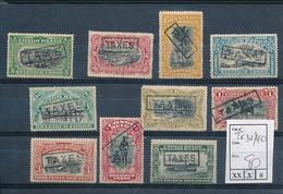 BELGIAN CONGO POSTAGE DUE 1910 ISSUE COB TX31/40 LH MET SCHARNIEREN CHARNIERES - Portomarken: Ungebraucht