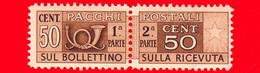 Nuovo - MNH -  ITALIA - 1946 - Pacchi Postali - Due Sezioni, Corno Di Posta E Cifra - Filigrana Ruota - 50 C. - Postal Parcels