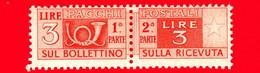 Nuovo - MNH -  ITALIA - 1946 - Pacchi Postali - Due Sezioni, Corno Di Posta E Cifra - Filigrana Ruota - 3 L. - Postal Parcels