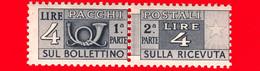 Nuovo - MNH -  ITALIA - 1946 - Pacchi Postali - Due Sezioni, Corno Di Posta E Cifra - Filigrana Ruota - 4 L. - Postal Parcels