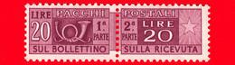 Nuovo - MNH -  ITALIA - 1946 - Pacchi Postali - Due Sezioni, Corno Di Posta E Cifra - Filigrana Ruota - 20 L. - Postal Parcels