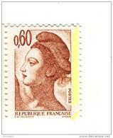 Liberté 0fr60 Brun Rose YT 2239e Avec Petit Phospho à Cheval . Pas Courant , Voir Le Scan . Cote YT : 5 € . - Variedades: 1980-89 Nuevos