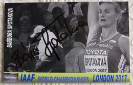 Barbora SPOTAKOVA - Dédicace - Hand Signed - Autographe Authentique  - - Athletics