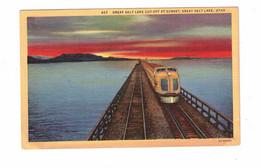 GREAT SALT LAKE, Utah, USA, Streamliner Train, 1947 Linen Postcard, Utah Centennial Cancel 1847-1947 - Materiaal
