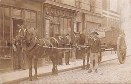 Paris Vieux Metier Superbe Carte Photo Marchand Ambulant De Briques Avec Ses Chevaux Devant Magasin Gavroche 1900 - Fliegende Händler
