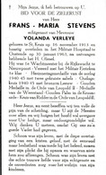 St Kruis, Oostende: 1963, Frans Stevens, Verleye, Rijkswachter, Gouden Medaille Orde Leopold 2, Gouden Palm Kroonorde - Andachtsbilder