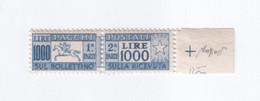 """Italia - 1954 - Pacchi Postali """"Cavallino"""" £.1000 Fil. Ruota MNH** Ben Centrato E Con Cert. Di Autenticità Caffaz - Postal Parcels"""