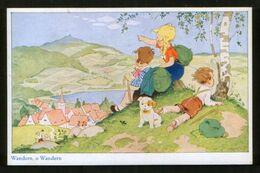 Germany Old Postcard AK Fritz Baumgarten. Wandern, O Wandern - Children And Puppy - Baumgarten, F.