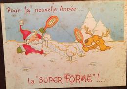 """Cpm Double De 1984, Père Noël Et Renne Jouant Au Tennis-badminton """"pour La Nouvelle Année La Super Forme"""",éd Rust Craft - Año Nuevo"""