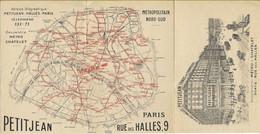 PARIS  Plan Du Métro Offert Par PETITJEAN, Carte Publicitaire En 3 Volets D'agent Immobilier  9, Rue Des Halles - District 01