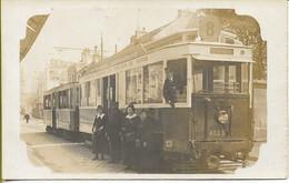 PARIS  Carte Photo TRAMWAY  De La CGO N° 433 G Ligne 8 Gare De L'Est (carte Expédiée Par Le Receveur  En 1916) - Public Transport (surface)