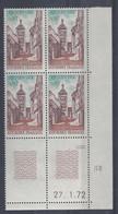 RIQUEWIHR N° 1685 - Bloc De 4 COIN DATE - NEUF SANS CHARNIERE - 27/1/72 - 1970-1979