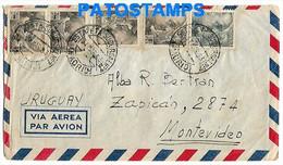 147565 SPAIN ESPAÑA MADRID COVER CANCEL ESTAFETA SUCURSAL YEAR 1953 CIRCULATED TO URUGUAY NO POSTAL POSTCARD - 1951-60 Cartas