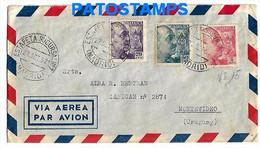 147566 SPAIN ESPAÑA MADRID COVER CANCEL ESTAFETA SUCURSAL YEAR 1952 CIRCULATED TO URUGUAY NO POSTAL POSTCARD - 1951-60 Cartas