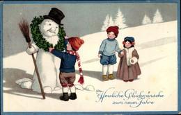 Lithographie Glückwunsch Neujahr, Kinder Schmücken Schneemann Mit Tannenkranz - Nieuwjaar