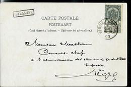 Carte-vue: Anvers (Place Verte) -- Obl. ANVERS ( OUEST )  1903 + Griffe De CALAMINE (encadrée) - Sello Lineal