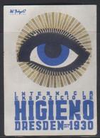 Esperanto Label Dresden Hygiene Fair 1930 - Internacia Higiena Foiro * * - Esperanto