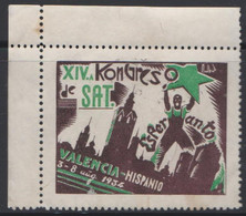 Esperanto Label 14th SAT Conference In Valencia (Spain) * * 1934 14a SAT Kongreso En Valencio - Verda Stelo - Esperanto