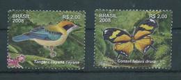 Brazil 2008 Japi Mountain Range - State Of Sao Paulo. Bird And Butterfly. Oiseaux Et De Papillons. Block Stamps.MNH - Ungebraucht