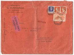 ITALIA 2.50 LIRE ESPRESSE +50C+ 1.75X2 GRANDE LETTRE COVER LETTERA EXPRES COMO 1940 TO GENEVE - Storia Postale