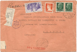 ITALIA 50C+1.75+25C2 LETTRE LETTERA COVER REC NAPOLI 1941 TO GENEVE CENSURA - Storia Postale