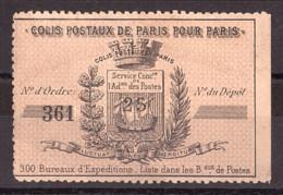 Colis Postaux Paris Pour Paris - 1891- Timbre N° 3 - Otros