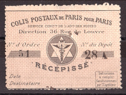 Colis Postaux Paris Pour Paris - 1891- Récépissé N° 3 - Otros