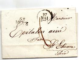 """""""55 METZ"""",21X11mm,L.A.C. Pour St ETIENNE Le 27 Mai 28. - 1801-1848: Voorlopers XIX"""