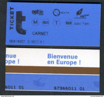 Métro - RATP - Station EUROPE N° 0612 - Ticket De Carnet De 2004 - RARE - Europe