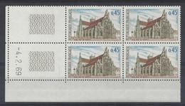 EGLISE De BROU N° 1582 - Bloc De 4 COIN DATE - NEUF SANS CHARNIERE - 4/2/69 1 Trait - 1960-1969