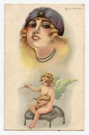 Illustrateur Bonora. Style Meunier. Petit Ange Blond Peintre. Femme. Woman. - Altre Illustrazioni