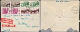 Culturelle (1953) - N°918/21 En Paire Sur Lettre En Expres De Ixelles-Elsene > Le Havre - Storia Postale
