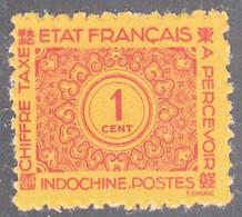 INDO CHINA   SCOTT NO J74   MINT NO GUM AS ISSUED    YEAR  1943 - Impuestos