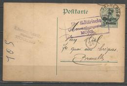Belgique - Occupation Allemande - Carte Postale Type 1 (OC2) De FRAMERIES + Contrôle Mons - German Occupation