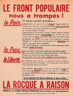 1936 - LE FRONT POPULAIRE Nous A Trompés ! - LA ROCQUE A RAISON - Parti Social Français - Tract 1 Page - Historische Documenten